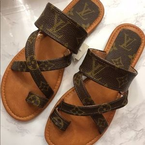 LV Canvas Custom Made Strappy Sandals